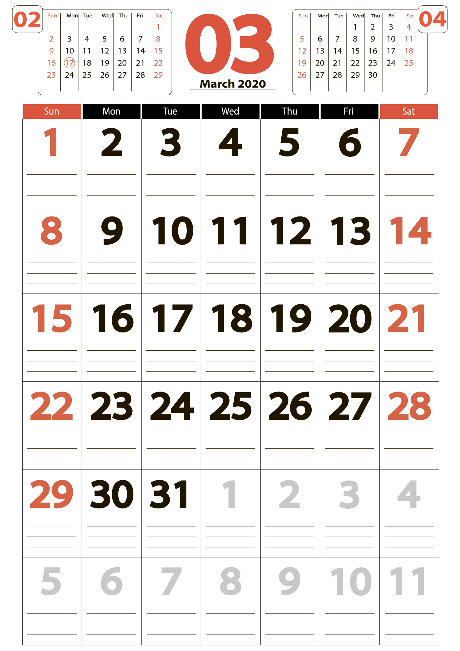 Download calendar march 2020