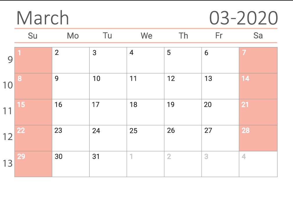 march 2020 calendar Сalendar with week numbers