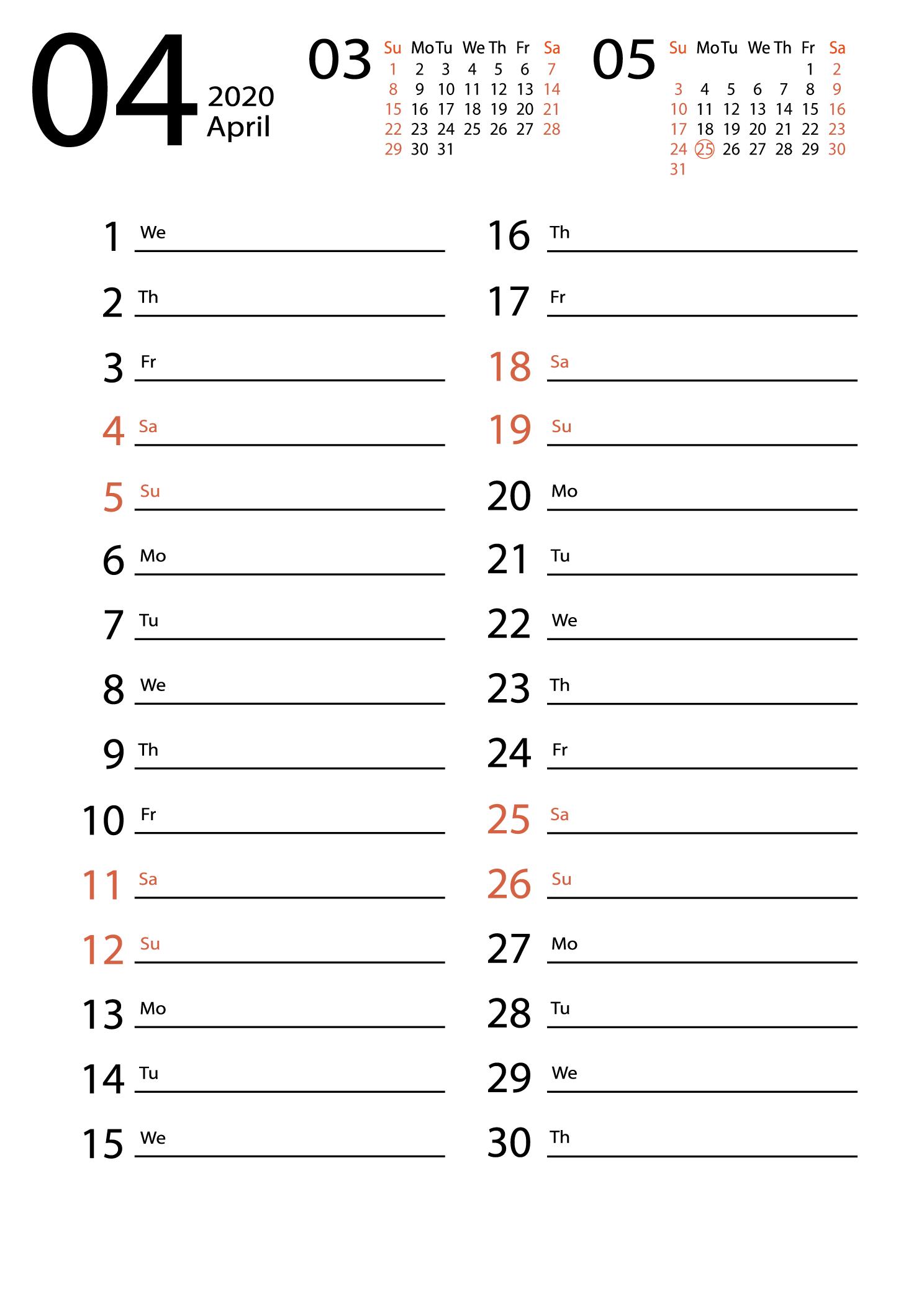april 2020 calendar Сalendar for notes