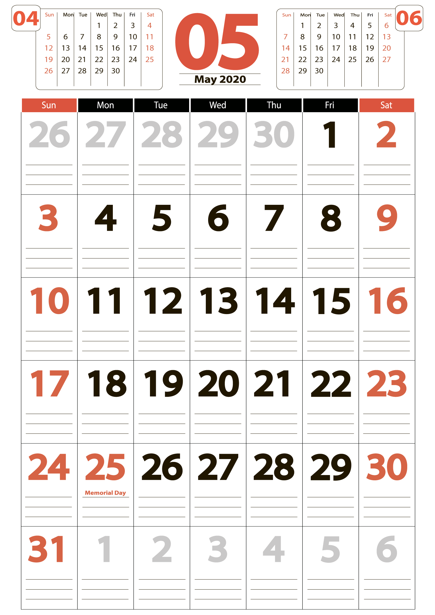 Download calendar may 2020