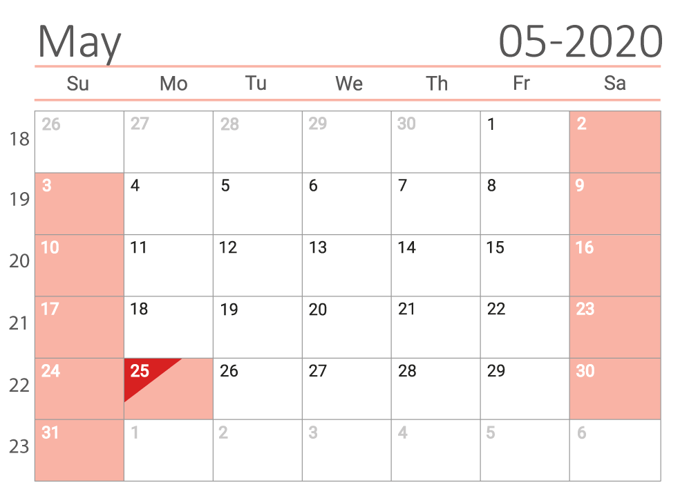 may 2020 calendar Сalendar with week numbers