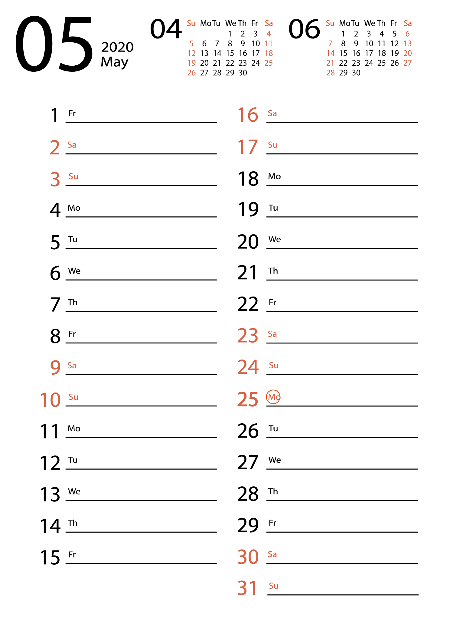 may 2020 calendar Сalendar for notes