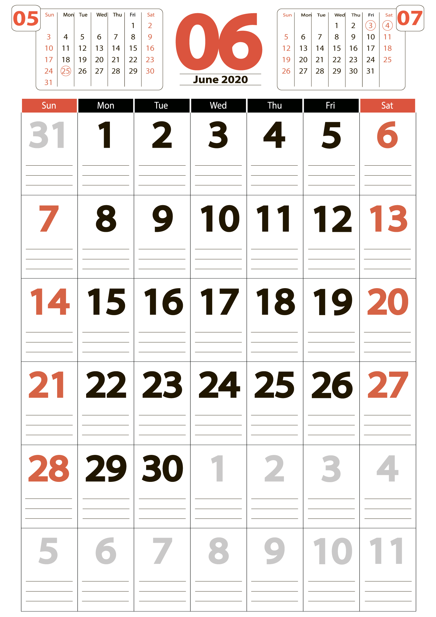 Download calendar june 2020