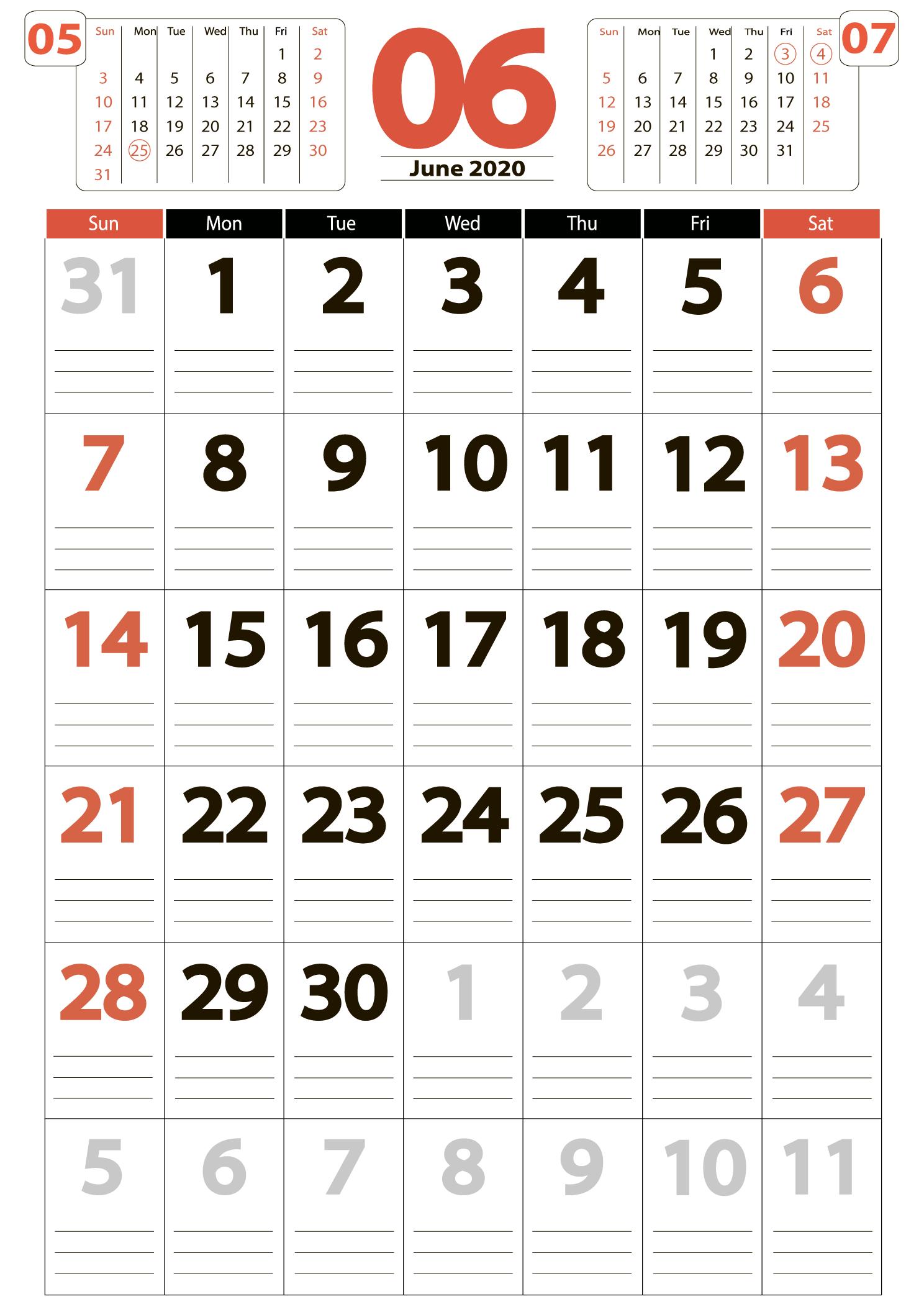 june 2020 calendar Portrait calendar