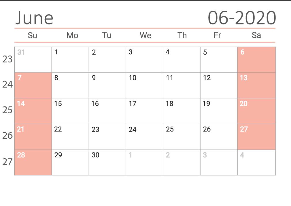 june 2020 calendar Сalendar with week numbers