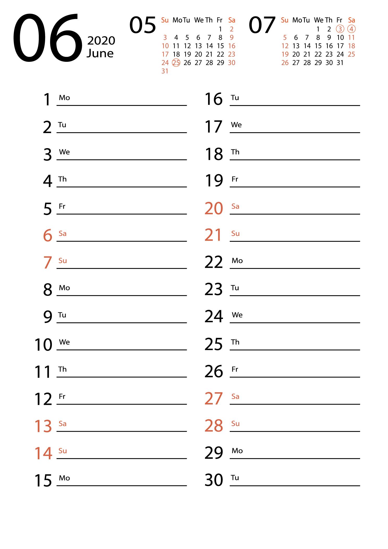 june 2020 calendar Сalendar for notes