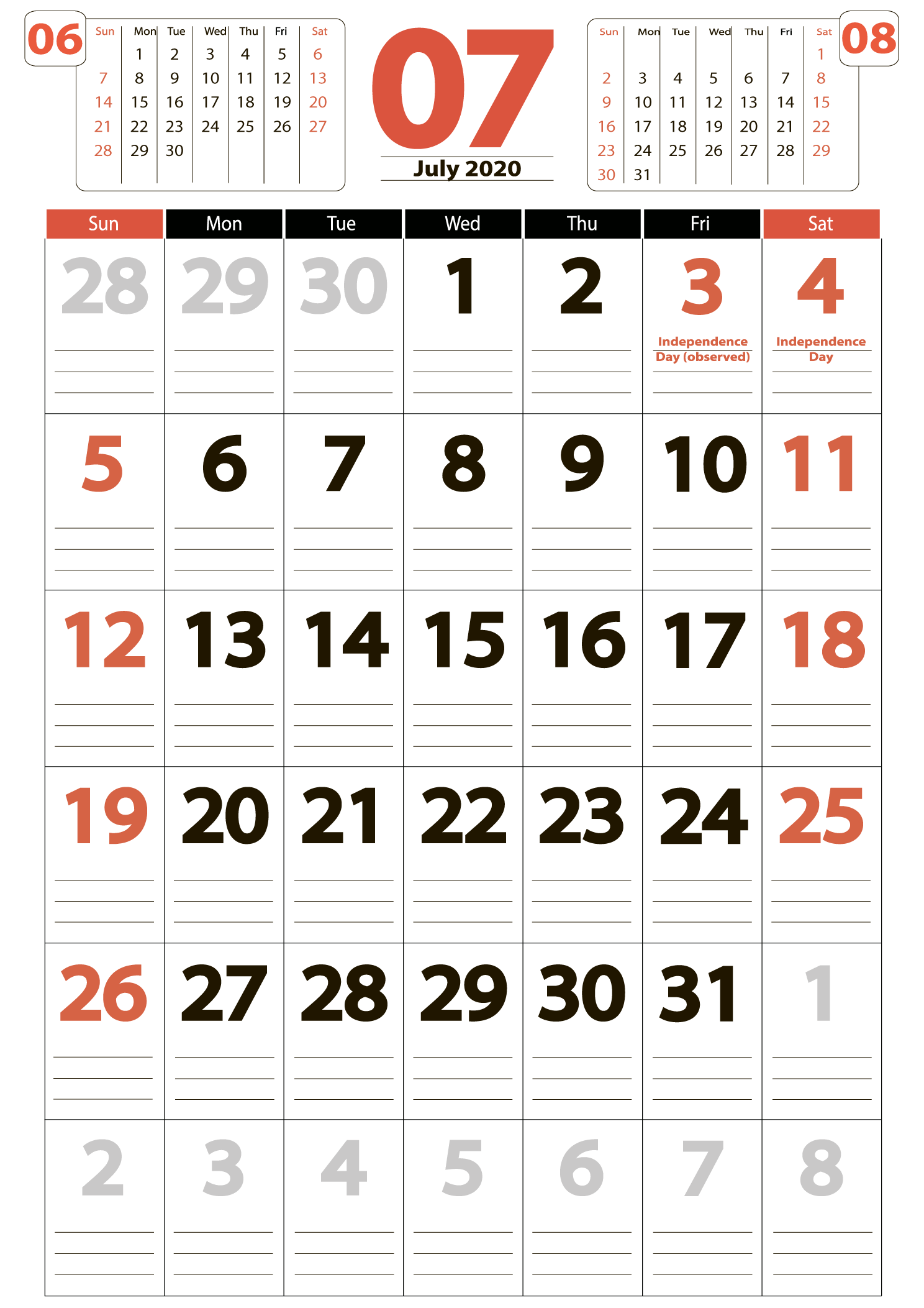 Download calendar july 2020