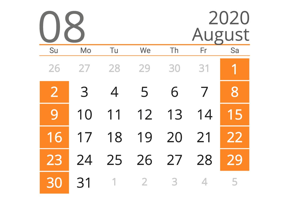august 2020 calendar Landscape calendar