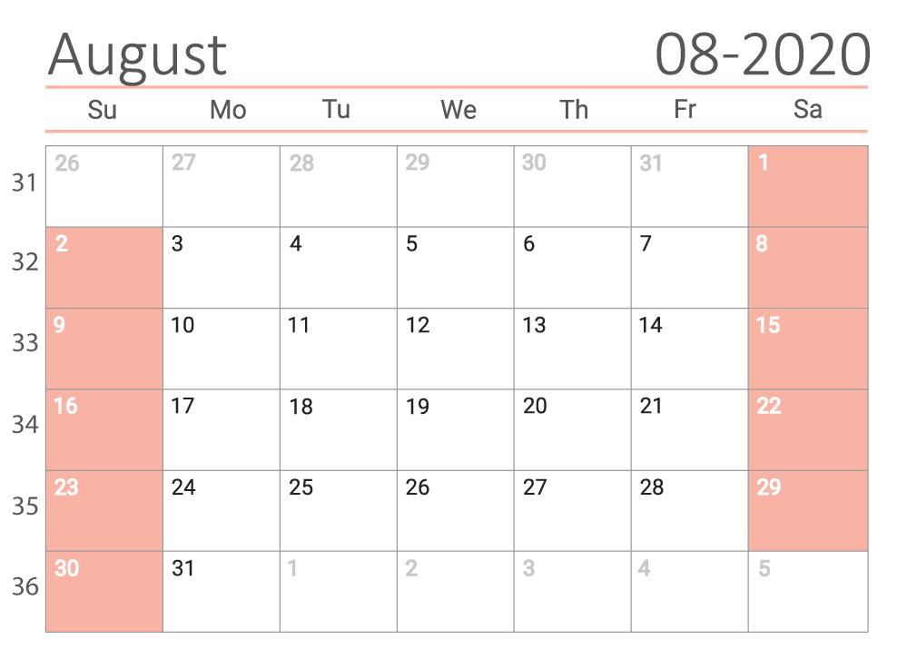 august 2020 calendar Сalendar with week numbers