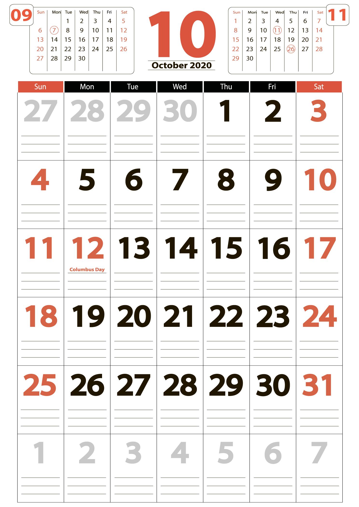 Download calendar october 2020