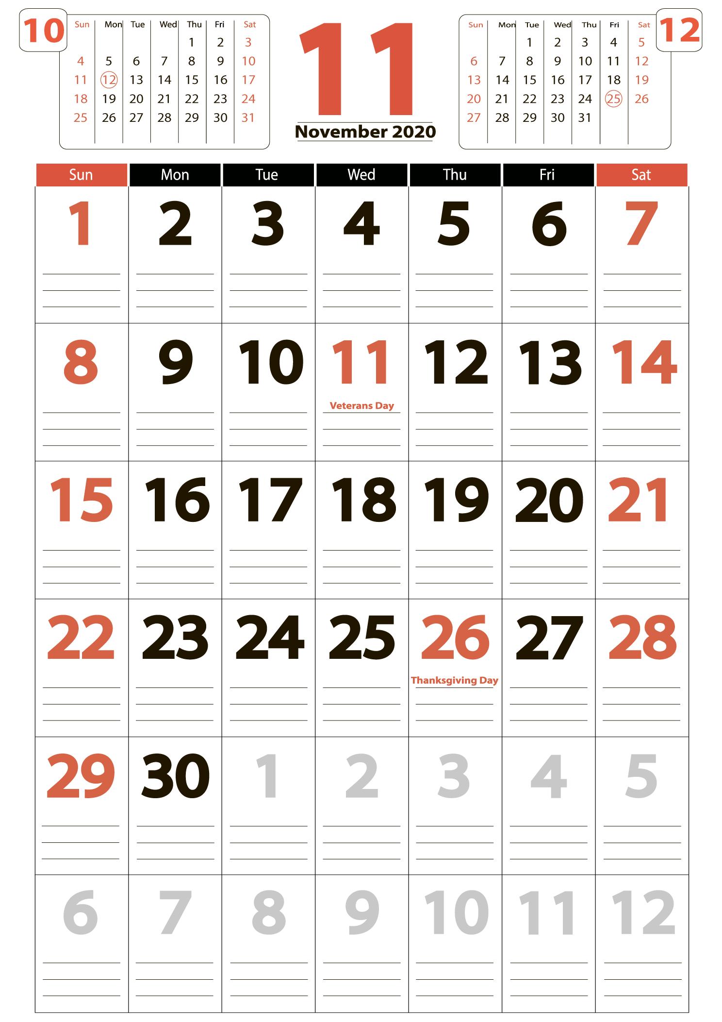 Download calendar november 2020