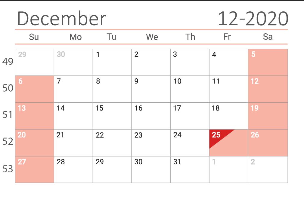 december 2020 calendar Сalendar with week numbers